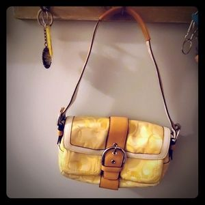 Yellow Coach Purse with White & Tan leather